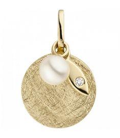 Anhänger 585 Gold Gelbgold eismatt 1 Süßwasser Perle 1 Diamant Brillant Designer Jewellery, Jewelry Design, Wessel, Schmuck Design, Pearl Earrings, Pearls, Gold, Pearl Diamond, Paradise