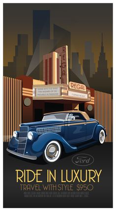 Art Deco Car Poster by Derek Walker, via Behance (Art Deco or deco, is an eclectic artistic and design style that began in Paris in the 1920s and flourished internationally throughout the 1930s and into the World War II era.The style influenced all areas of design, including architecture and interior design, industrial design, fashion and jewelry, as well as the visual arts such as painting, graphic arts and film)