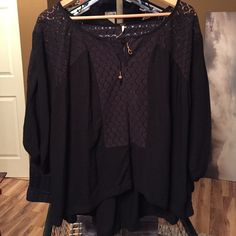 Free People Sheer Black Long Sleeve Puffy Blouse Awesome Free People black long sleeve blouse. Really cool details and textures. Missing one bead on the front ties, but it's not noticeable. Size small Free People Tops Tees - Long Sleeve