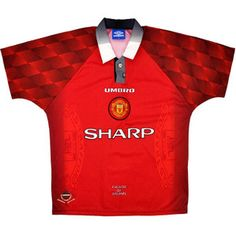Manchester United Home Shirt (Excellent) XL for just Condition of shirt - ExcellentSize - XL details - Bright colours, club badge is stitched, some wear to the collar button, nice material feel b Manchester United Old Trafford, Manchester United Shirt, Old Football Shirts, Classic Football Shirts, Eric Cantona, Club Shirts, Sunderland, Premier League, Retro Vintage