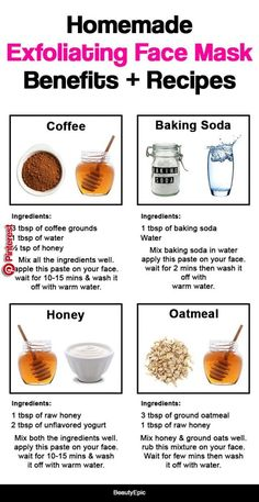 Homemade Exfoliating Face Mask: Benefits + Recipes   Homemade exfoliating face mask provide an efficient and convenient way to maintain the facial skin health. Exfoliating facials work in the following way to