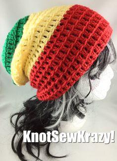 Slouchy Beanie Crochet Hat Handmade   Red Yellow by roxygal48, $20.99