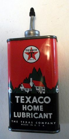 Texaco Household Oil Vintage Oil Cans, Vintage Tins, Vintage Labels, Old Gas Pumps, Vintage Gas Pumps, Old Gas Stations, Porcelain Signs, Texaco, Old Signs