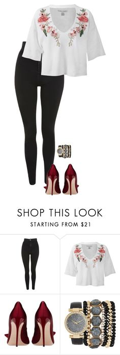 """""""Sem título #885"""" by lariiis ❤ liked on Polyvore featuring Topshop, Sans Souci and Jessica Carlyle"""