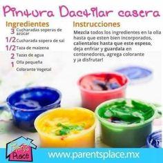 Como hacer pintura dactilar. Manualidades caseras para niños.