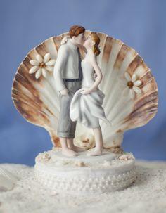 Beach Island Get Away Kissing Bride and Groom Shell Wedding Cake Topper Figurine for sale online My Wedding Favors, Diy Wedding Cake, Wedding Cake Toppers, Wedding Bells, Wedding Ideas, Wedding Details, Wedding Reception, Wedding Stuff, Hawaiin Cake
