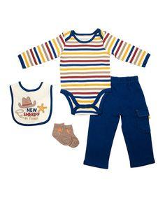 White & Blue Stripe Bodysuit Set - Infant #zulily #zulilyfinds