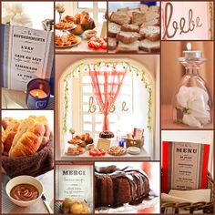 French Paris bakery pour le bebe baby shower collage