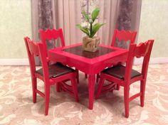 RARE Ideal Card Table Chairs Vintage Dollhouse Furniture Renwal Marx Plasco Sz | eBay