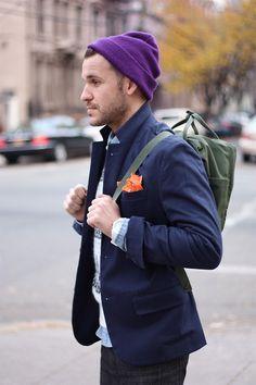 purple beanie, fjallraven kanken backpack, blazer