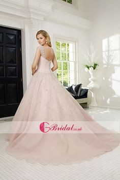 Dream Pink Sleeveless Floor-Length Buttons Straps Bridal Wedding Dress
