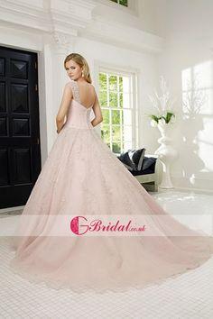 Dream Pink Sleeveless Floor-Length Buttons Straps Bridal Wedding Dress