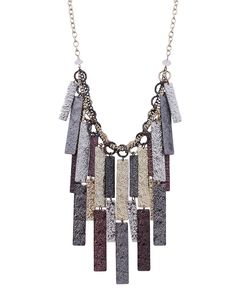 """16"""" Long Hammered Texture Multi Dangle Metal Necklace - S3720-METAL MULTI"""