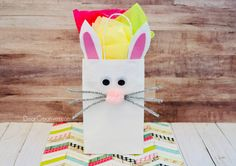 Spring is filled with kids parties, baby showers and of course Easter. Why not wrap up your gifts with this cute and easy DIY Bunny Bag! This can be used as a fun kids craft idea too. See how to make this and other bunny and Easter crafts at Bunny Crafts, Easter Crafts For Kids, Crafts For Teens, Craft Stick Crafts, Paper Crafts, Diy Crafts, Bunny Templates, Paper Bunny, Bunny Bags