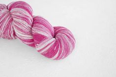 Artistic wool laceweight art wool in baby pink and white