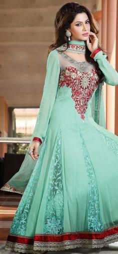 Sophisticated aqua green anarkali churidar: KSL2195