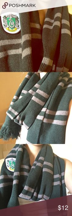 Slytherin Scarf Large warm and cozy knitted Slytherin scarf with embroidery WB Accessories Scarves & Wraps
