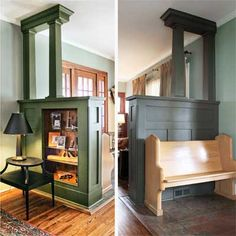 This half-wall and colonnade creates a transition area from the front door into the house. The base and columns were found at salvage stores.