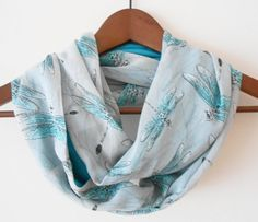 Infinity scarf, dragonfly pattern scarf, spring, women's accessories, loop scarf, linen scarf, two-sid,ed scarf, gray, blue, turquoise,linen...