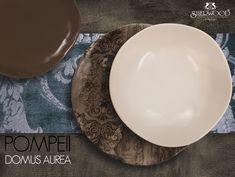 DOMUS AUREA  set da tavola in stonewere POMPEII  con stampa 3D effetto antico, forma innovativa irregolare Pompeii, Serving Bowls, England, Plates, Tableware, Shape, Licence Plates, Dishes, Dinnerware