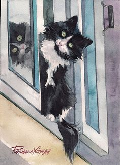 """This is a high quality giclee print of original watercolor painting """"CAT ON THE WINDOW"""" by Yuliya Podlinnova, artist from Russia."""