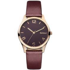 Barbour BB002BYBY Women's Fell Leather Strap Watch, Burgundy/Black (185 CAD) ❤ liked on Polyvore featuring jewelry, watches, accessories, bracelets, clocks, buckle jewelry, buckle watches, leather strap watches, leather-strap watches and polish jewelry