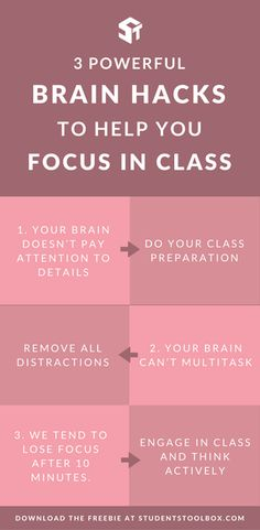 Do you struggle to focus in class? Here are 3 brain rules and powerful hacks and tips for students that can help you better pay attention in class and get the most from it!