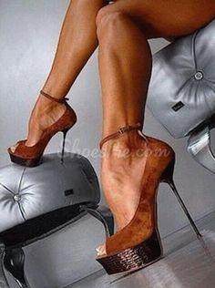 Sexy Lady Ankle Strap Peep-Toe Stiletto Heels