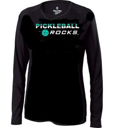 1af82388 Black V-Neck Ladies Dri Fit Long Sleeve Shirt. Round LogoPickleLong Sleeve  ShirtsAthleticAthleteDeporteCircular Logo.