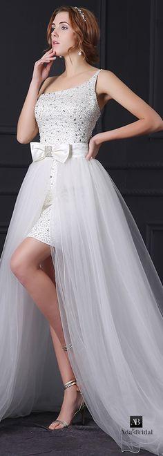 Glamorous satin & tulle one shoulder neckline 2 in 1 wedding dress(WWD39701)