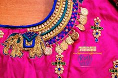 South Indian Blouse Designs, Bridal Blouse Designs, Saree Blouse Designs, Blouse Styles, Zardosi Work Blouse, Pink Saree Blouse, Maggam Work Designs, Designer Blouse Patterns, Blouse Models
