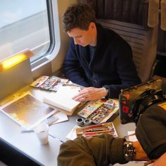 Eddie Redmayne studies  and paints aboard Eurostar enroute to France during shooting of War Art documentary airing May 24 on @ITV - See more at: http://my-eddie-redmayne-scrapbook.tumblr.com/#sthash.I73VXAVI.dpuf