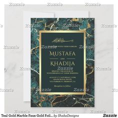 Teal Gold Marble Faux Gold Foil Islamic Wedding Invitation Teal Wedding Invitations, Custom Invitations, Colored Envelopes, White Envelopes, Teal And Gold, Gold Marble, Envelope Liners, Gold Foil, Paper Texture