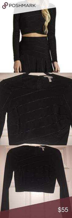 BCBG Generation black long sleeve crop top Worn once. Like NWT. Herve leger inspired top material. Beautiful with a boyfriend Jean or dress it up with a high rise skirt. BCBGeneration Tops Crop Tops