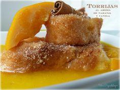 Torrijas con aroma de naranja, vainilla y canela.