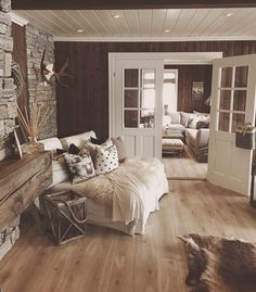 Rustic Home by - Architecture and Home Decor - Bedroom - Bathroom - Kitchen And Living Room Interior Design Decorating Ideas - Cabin Interiors, Rustic Interiors, Farmhouse Master Bedroom, Farmhouse Stairs, Interior Exterior, Cozy House, Interior Design Living Room, Interior Livingroom, Architecture Design