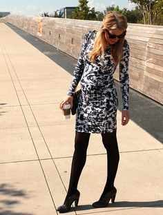 1d11af03f8d3 Graphic Maternity Dress, Black Tights, Sunnies via Life In ATX Blog http:/
