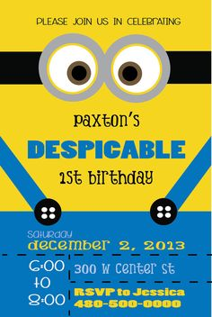 Despicable me minion birthday invitation by ckfireboots on etsy despicable minion birthday invitation stopboris Images