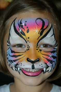 Pretty little tiger face paint Kitty Face Paint, Mime Face Paint, Face Paint Makeup, Cat Face, Face Painting Tutorials, Face Painting Designs, Body Painting, Animal Face Paintings, Animal Faces