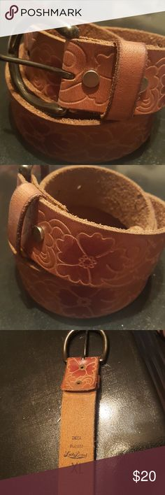 Lucky brand belt Lucky brand genuine leather brown belt with flowers Lucky Brand Accessories Belts