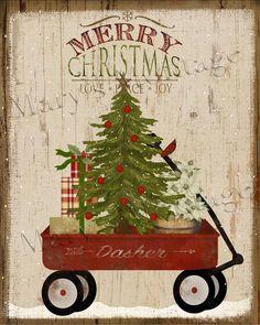 Wagon Weihnachten Happy Holidays 8 x 10 digital druckbare Christmas Truck, Christmas Images, Christmas Balls, Rustic Christmas, Christmas Projects, Holiday Crafts, Christmas Time, Christmas Wreaths, Christmas Ornaments