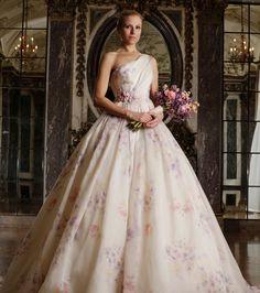 Robe de mariée fleurie à bretelle asymétrique - Romona Keveza