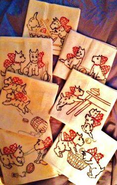 "Hand Embroidered ""Scottie Dog"" Flour Sack Kitchen Dish Towels Set of 7 |"