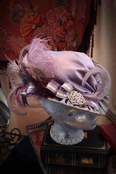 Ladies Spring Victorian Hat Purple And Silver by TheSistersBrimm