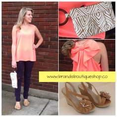 Coral Bow Back Tank http://www.brandisboutiqueshop.co/item_1771/Bow-Back-Tank.htm  Jute Clutch http://www.brandisboutiqueshop.co/item_1777/Jute-Clutch.htm  Kiss & Tell Wedge http://www.brandisboutiqueshop.co/item_1772/Kiss-Tell-Wedge.htm