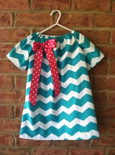 Teal and White Chevron with Hot Pink Bow Peasant Dress  on Etsy, $27.00