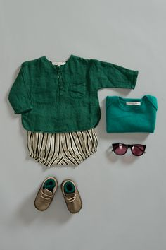 Martiniques Baby Jumper, Emerald Green / Santorini Baby Shirt, Turtle Green / Waiheke Baby Bloomer, Painted Stripe / Rib Baby Socks, Dark Emerald. Caramel Baby & Child. www.caramel-shop.co.uk.