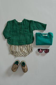 Martiniques Baby Jumper, Emerald Green / Santorini Baby Shirt, Turtle Green / Waiheke Baby Bloomer, Painted Stripe / Rib Baby Socks, Dark Emerald. Caramel Baby & Child. www.caramel-shop.co.uk.
