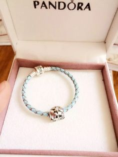 $79 Pandora Sterling Silver Leather Charm Bracelet CB01303
