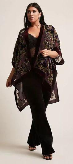 Plus Size Burnout Velvet Kimono